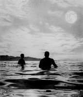 Waiting Surfers by chadlweeks