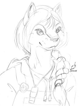 DG Lunch Sketchbook 9: Anthro Bridgette Bust by prdarkfox