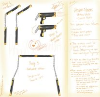 RWBY weapon: Umbra Vitale and Corona Flare by BlissClouds
