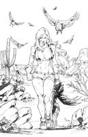 RED SONJA - Hunting vultures- Full page by CarlosGomezArtist