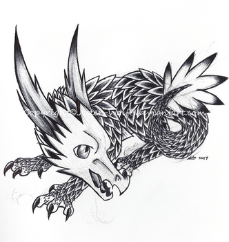 Inktober 6 - Thorn Dragon by Jester-Wolf