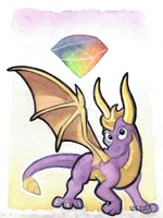 Therapy Spyro Watercolorpainting by Indiana-INDY-Viola