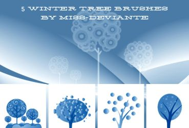 4 Winter Tree Brushes by Miss-deviantE