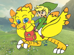 A Chocobo, in Hyrule, recreating an iconic moment by CooperGal24