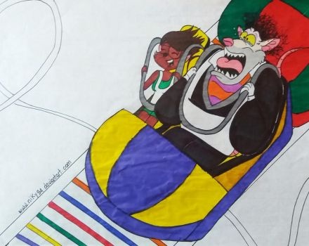Ratigan and Niky - Roller coasters panic by Niky94