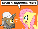 Fluttershy gives Uncle Fettuccine THE STARE by FreshlyBaked2014