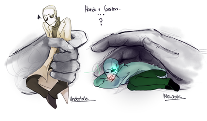 Hands And Gaster Sketch2 by Bunnymuse