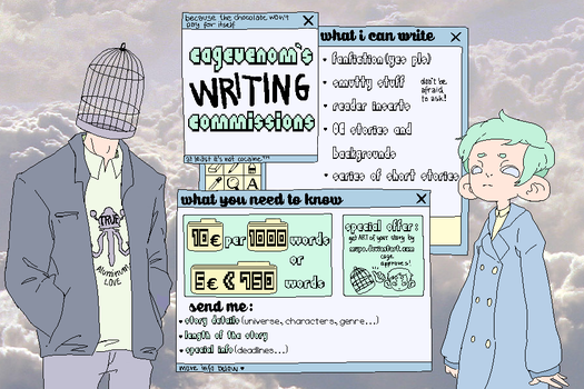 WRITING Commission sheet! by CageVenom