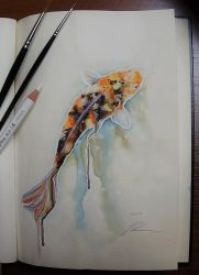 Koi Painting - DailySketch by RandomMumble