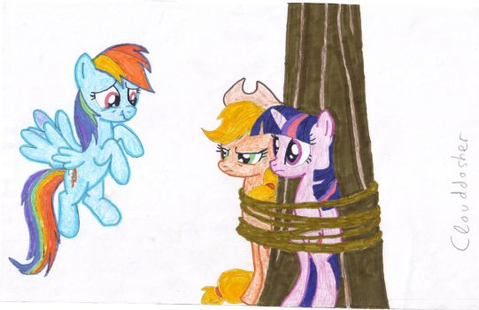 Twily and Aj tied on a tree by clouddasher
