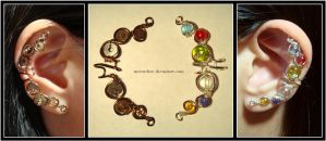Steampunk and Elegant Sister ear cuffs by Meowchee