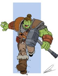 Uggo the Orc Barbarian from 'Dungeon Run' Fan Art by wonderfully-twisted