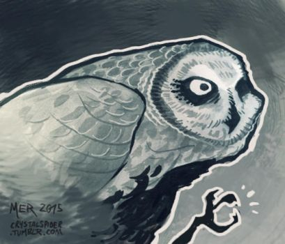 Inktober 2 - Short-Eared Owl by Radioactive-Insanity