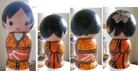 Monarch Butterfly Kokeshi by Froggy-Spaztastic