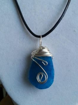 Wire wrapped blue stone by ScoopGirl