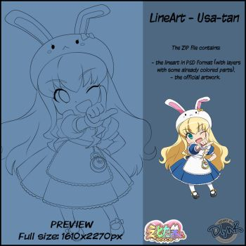Lineart - Usa-tan by DlynK