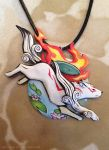 Okami Amaterasu Necklace by Gatobob