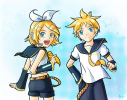 VOCALOID: Rin and Len 2 -blue- by MidoriGale