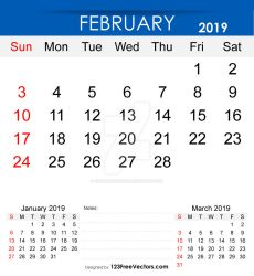 Printable February 2019 Calendar Free Vector by 123freevectors