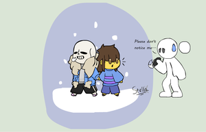 Undertale - Chibi Sans and Frisk.. ehmm... by Stella-X