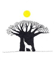 Elephant, baobab tree and sun by TJul