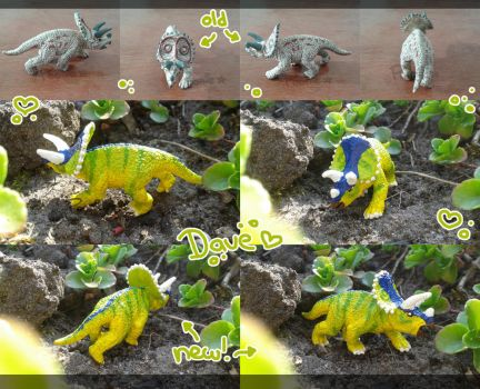 Schleich Mini Triceratops - Repaint by PoonieFox