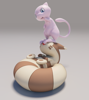 [3D] Mew and Furret by FeetyMcFoot