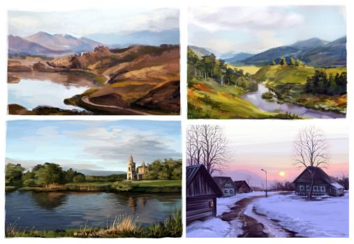 Landscapes studies by Dzydar