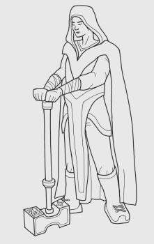 Human Cleric Lineart by rda-Highlander