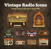 Vintage Radio Vector Icons by hongkiat