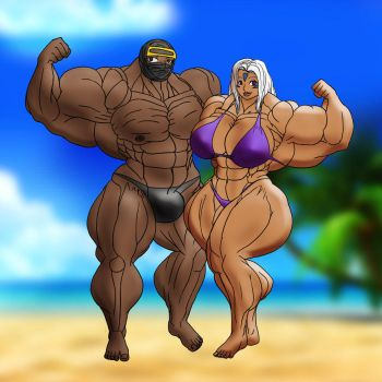Lady Urd and Myself at the Beach by muscle82002