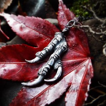 Nevermore - Crow 3 Talon Pendant by QuintessentialArts
