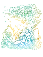 Aang and Oriana under a tree by SlayerTheRiseingSun