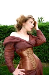 Brown ribbon underbust by EikhellCorsets