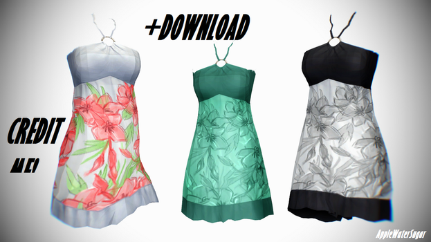 [MMD] Sims 4 Female Cloth/Dress (DL, every color) by AppleWaterSugar