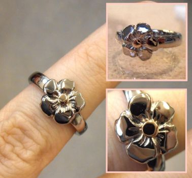 Forget-Me-Not gold ring by fairyfrog