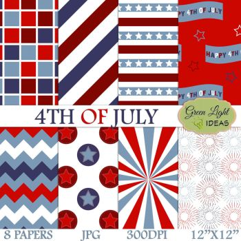 Free 4th Of July Digital Papers by GreenLightIdeasGLI