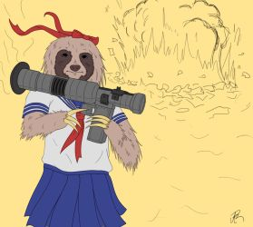 Bazooka sloth in Japanese schoolgirl uniform. by Aporopa