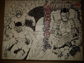 Avenger X-Sanction #1 Sketch Cover featuring Cable by epitaphgraphix