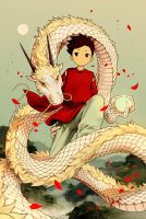 White Dragon and a Boy by NOEYEBROW