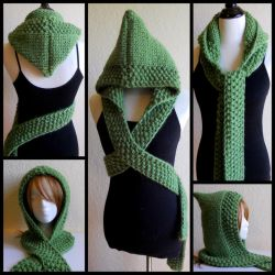 Green Hooded Scarf by StrangeKnits