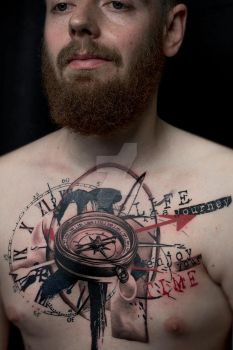 Trash polka compass and clock tattoo by SelfmadeTattooBerlin