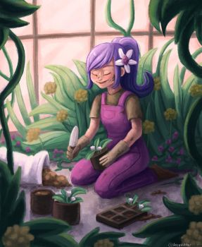 Gardening Girl by sleepyotter