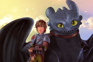 Toothless and Hiccup - HTTYD 2 Fanart by ThaYuu-chan