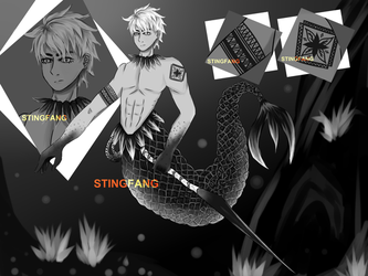 [CLOSED] Adopt Auction - Monochrome Merman Warrior by StingFang