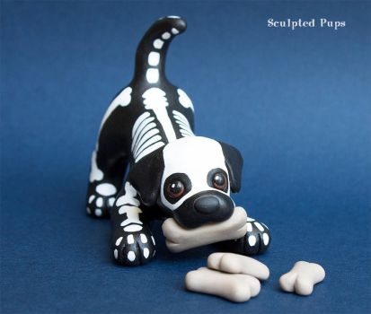 Spooky Halloween Skeleton pup by SculptedPups