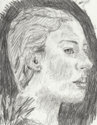 pencil drawing of woman by tulipteardrops