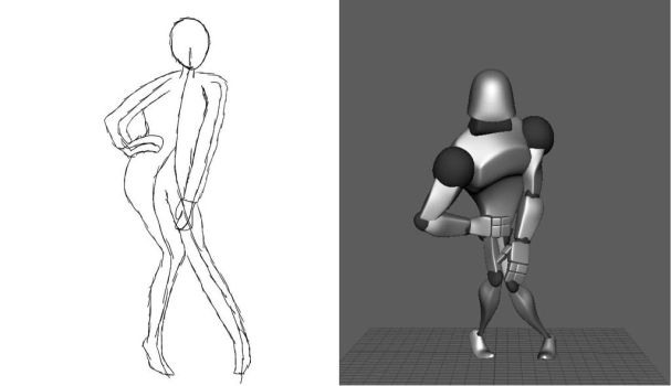 First Pose Sketch to 3D pose by MacaronParisPretty