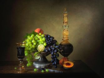 Still life with fruit and  red wine by Daykiney