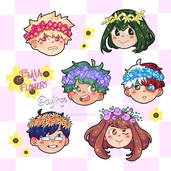 bnha x flower crown stickers !! by ayilingadopts